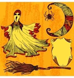 Halloween set with ghost moon broom scroll vector image