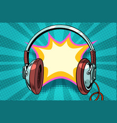 headphones comic bubble audio vector image vector image