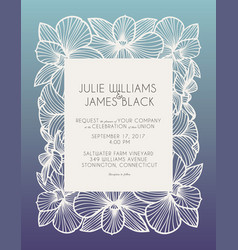 laser cut wedding invitation with orchid flowers vector image vector image