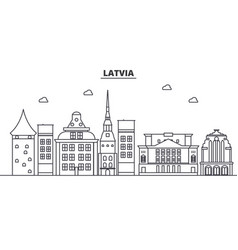 latvia architecture line skyline vector image