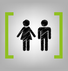 Male and female sign black scribble icon vector