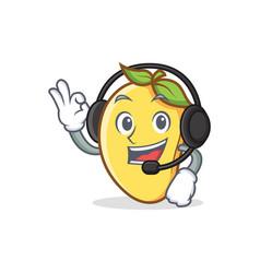 Mango character cartoon mascot with headphone vector