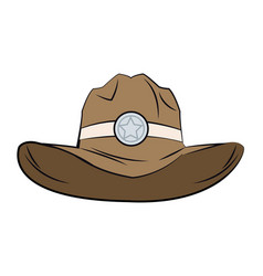 Old western sheriff hat star clothing icon vector