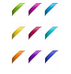 Set of corner ribbons in metallic colors vector
