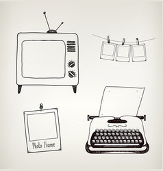set of hand drawn vintage typewriter tv vector image vector image