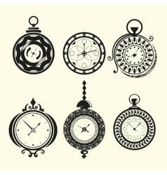 Set of vintage clocks vector image