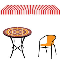 Table chair and awning vector image