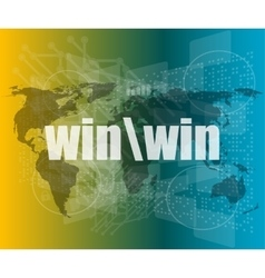 Win word on digital touch screen interface vector