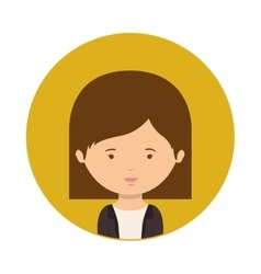 Yellow sphere of half body woman with short hair vector