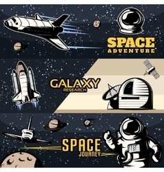 Space horizontal banners set vector