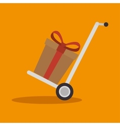 Delivery cart gift cardboard cargo icon vector