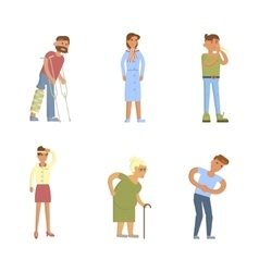 Sick people characters vector