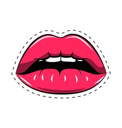 Female lips Mouth with a kiss smile tongue teeth vector image