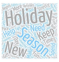 Holiday survival tips for retirees text background vector