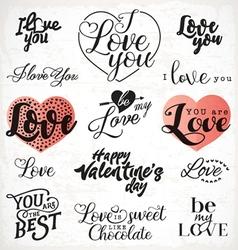 Valentines day typography design elements vector