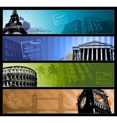 Europe cities Horizontal travel banners vector image
