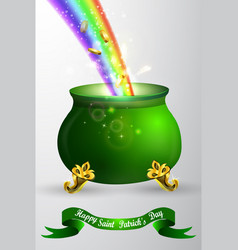 St patricks day green pot with rainbow vector