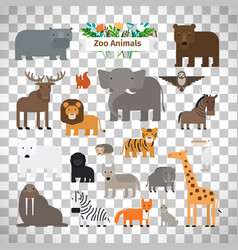 Zoo animals icons on transparent background vector