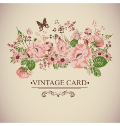 Vintage floral card with butterflies vector