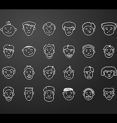 Icon set 24 male faces vector