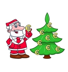 Santa decorating tree with euro 2 vector