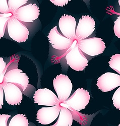 Pink and white tropical flowers on dark leaves vector