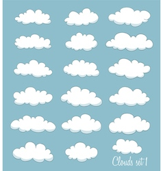 Set of cute cartoon white clouds vector