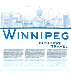 Outline Winnipeg Skyline with Blue Buildings vector image