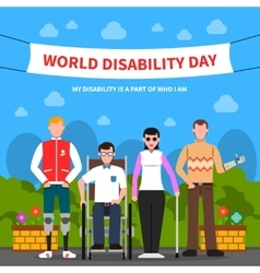 People with disabilities support flat poster vector