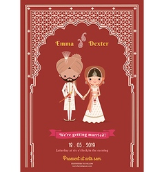 Indian wedding bride groom cartoon save the date vector