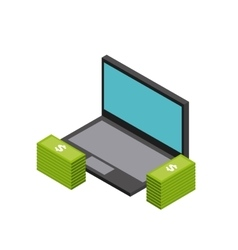 Laptop and bills icon isometric design vector