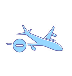 airplane flight plane stop transport travel icon vector image