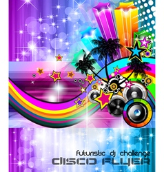 Beach disco party poster vector