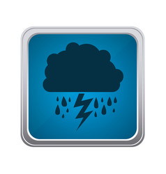 Blue emblem cloud rainning and ray icon vector