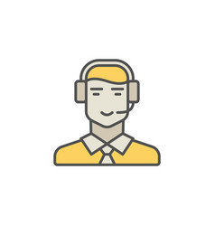 Call center operator colorful icon man in vector