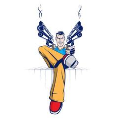 cartoon gun gangsters vector image