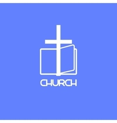 Church logo with book and cross vector image vector image