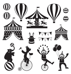 Circus objects icons mono set vector