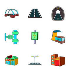 city facilities icons set cartoon style vector image