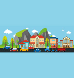 City scene with buildings and cars vector