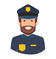 Colorful portrait half body of bearded policeman vector