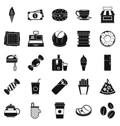 dining room icons set simple style vector image