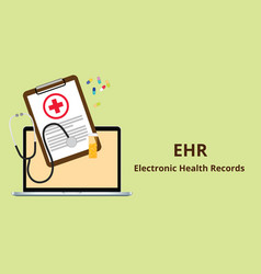 Ehr electronic health record white text vector