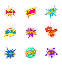 Explosive stickers icons set cartoon style vector