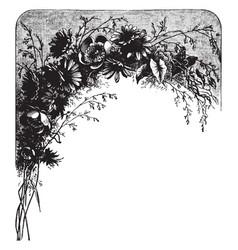 Flowers with leaves pattern vintage engraving vector