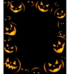 Frame of grinning halloween lanterns vector