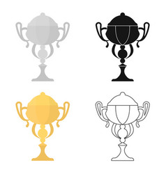 Gold cup icon in cartoon style isolated on white vector