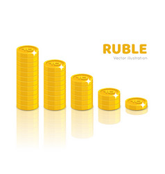 gold rubles piles cartoon style isolated vector image vector image