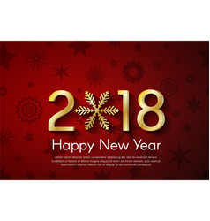 Golden new year 2018 concept on red vintage vector