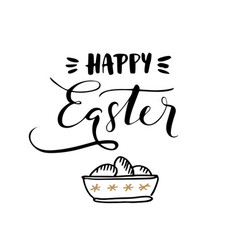 Happy easter calligraphic greeting card vector